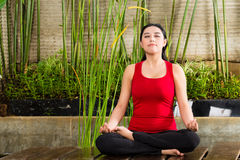 Asian woman doing yoga in tropical setting Royalty Free Stock Images