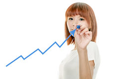Asian woman drawing graph on virtual board Stock Photos