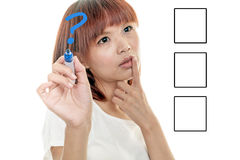 Asian woman drawing graph on virtual board Stock Images