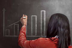 Asian woman drawing increasing chart on the blackboard Royalty Free Stock Images