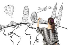 Asian woman drawing or writing dream travel around the world. On white royalty free stock photos