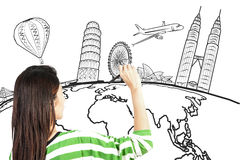 Asian woman drawing or writing dream travel around the world. On white stock images