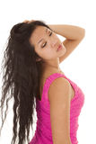 Asian woman dress hair back eyes closed Royalty Free Stock Images