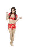 Asian woman dress traditional cheongsam and introduce Royalty Free Stock Photos