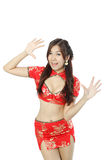 Asian woman dress traditional cheongsam and introduce Stock Images