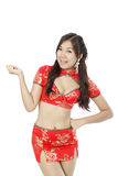 Asian woman dress traditional cheongsam and introduce Stock Photo