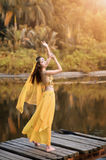 Asian woman dressed imitate Persian dancers Royalty Free Stock Photo