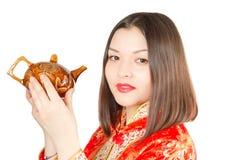Asian woman drinking Chinese tea Stock Photo