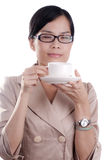 Asian Woman Drinking Coffee Royalty Free Stock Photography