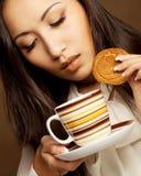 Asian woman drinking coffee or tea. Beautiful asian woman drinking coffee or tea Stock Photography