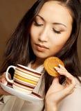 Asian woman drinking coffee or tea. Beautiful asian woman drinking coffee or tea Stock Photos
