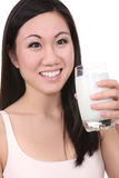 Asian Woman Drinking Milk Royalty Free Stock Image