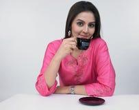 Asian Woman Drinking Tea Stock Photography