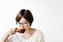 Asian Woman Drinking Tea Relax Coffee Cafe Concept Stock Photography