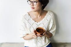 Asian Woman Drinking Tea Relax Concept Royalty Free Stock Photos