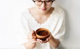 Asian Woman Drinking Tea Relax Concept Stock Photos