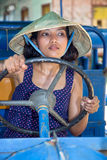 Asian woman driving bus royalty free stock images