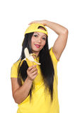 Asian woman eating a banana Royalty Free Stock Photography