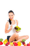 Asian woman eating healthy salad Stock Photo