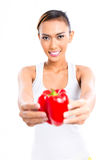 Asian woman eating healthy vegetables Royalty Free Stock Images