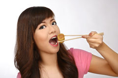 Asian Woman Eating Japanese Food Royalty Free Stock Photo