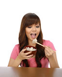 Asian Woman Eating Japanese Food Royalty Free Stock Images