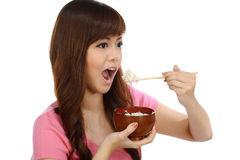 Asian Woman Eating Japanese Food Stock Images