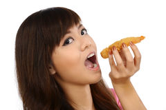 Asian Woman Eating Japanese Food Stock Photo
