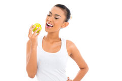 Asian woman eating and living healthy Stock Image