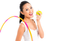 Asian woman eating and living healthy Stock Images