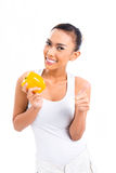 Asian woman eating and living healthy royalty free stock photo