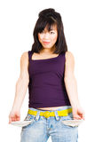 Asian woman with empty pockets Stock Photography