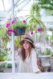 Asian woman enjoying the freshness Stock Photography