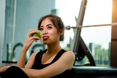 Asian woman exercising in the gym. Young woman workout in fitness for her healthy and office girl lifestyle. She is holding green apple Stock Image