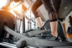 Asian woman exercising in the gym. Young woman workout in fitness for her healthy and office girl lifestyle Stock Photography