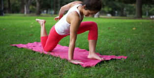 Asian woman exercising in a park stock video footage