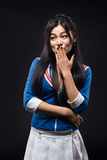 Asian woman expressing emotions in studio Stock Photo