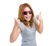 Asian woman with eyeglasses and thumb up Stock Image