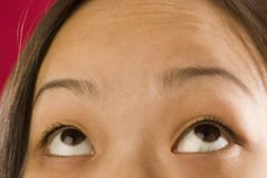 Asian woman eyes looking up. Close up view of an Asian girl looking up with her eyes Royalty Free Stock Photos