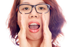 Asian woman face gesture  shout Stock Photo
