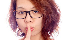 Asian woman face gesture silent Royalty Free Stock Image