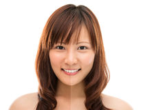 Asian woman face with half tan skin. (before and after) isolated on white background. Beautiful Asian girl model royalty free stock images