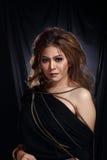 Asian Woman Fashion Make Up brunette hair, studio lighting black Royalty Free Stock Photos