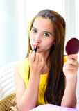 Asian woman with fashion red lips Stock Images