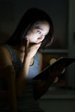 Asian Woman feeling shock when looking at tablet Stock Photography