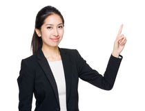 Asian woman finger point out Royalty Free Stock Photos