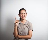 asian woman with finger point up Stock Image