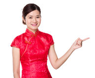 Asian woman with finger show out Royalty Free Stock Photography