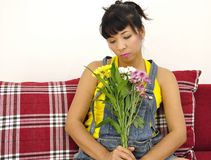 Asian woman with flowers Stock Photos