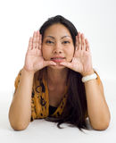 Asian woman framed face Stock Photo